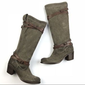 Frye Jane Strappy Suede Heeled Tall Boots